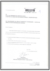 Requerimento - Contratos e Custos das Obras - Casa do Advogado